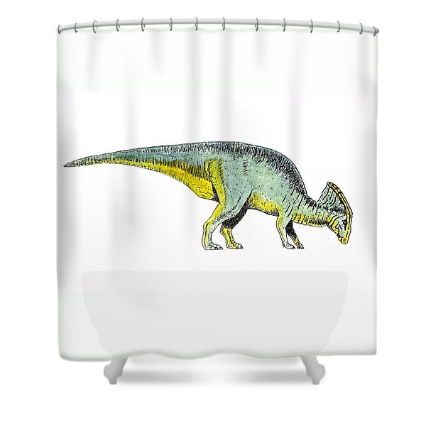 Parasaurolophus Shower Curtain by Michael Vigliotti