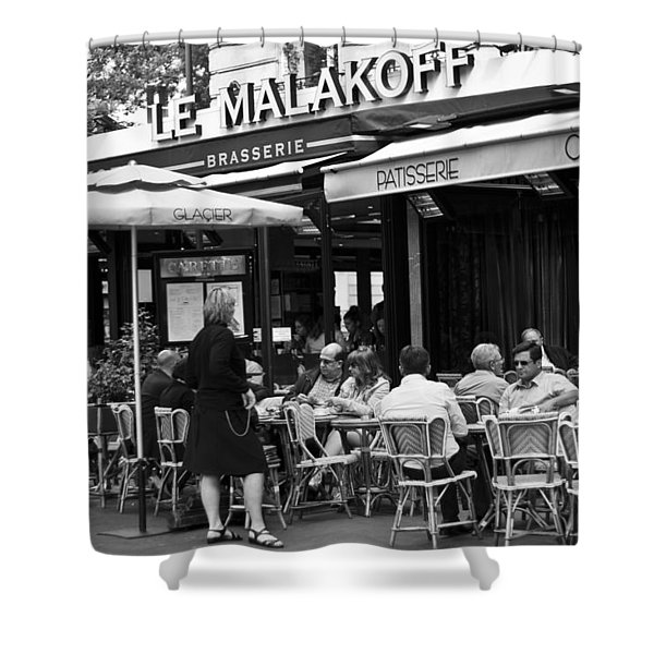 Paris Street Cafe - Le Malakoff Shower Curtain by Georgia Fowler