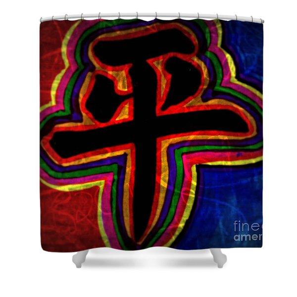 Peace, Chinese Symbol Shower Curtain by WBK