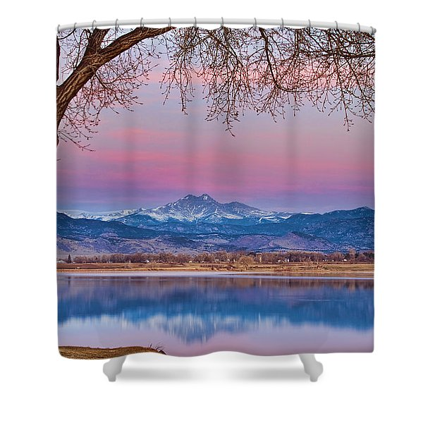 Peaceful Early Morning First Light Longs Peak View Shower Curtain by James BO  Insogna