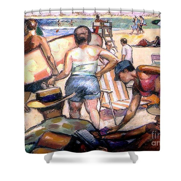 People On The Beach Shower Curtain by Stan Esson