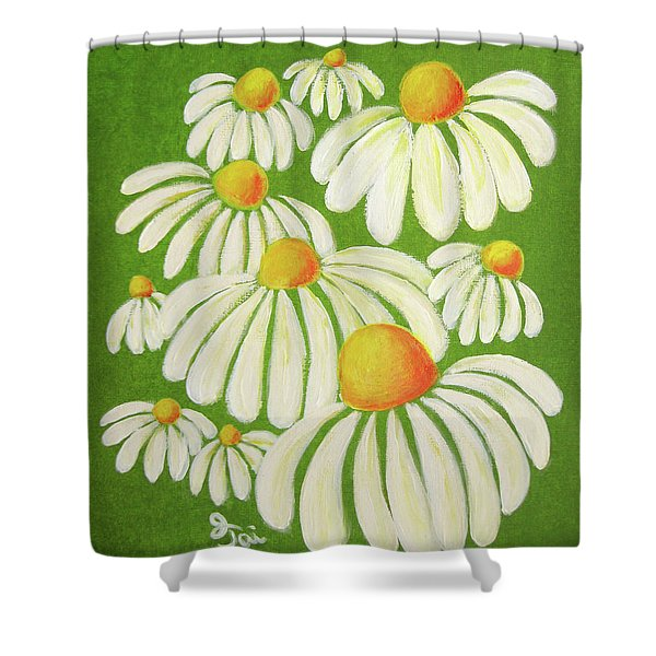 Perky Daisies Shower Curtain by Oiyee  At Oystudio