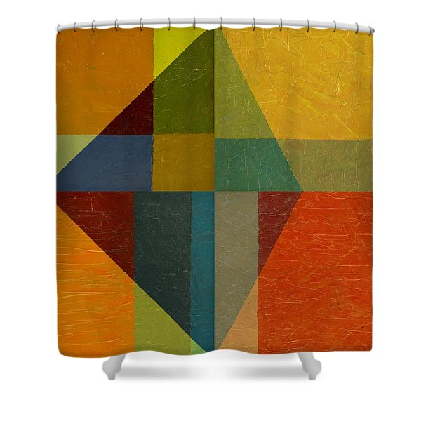 Perspective In Color Collage Shower Curtain by Michelle Calkins