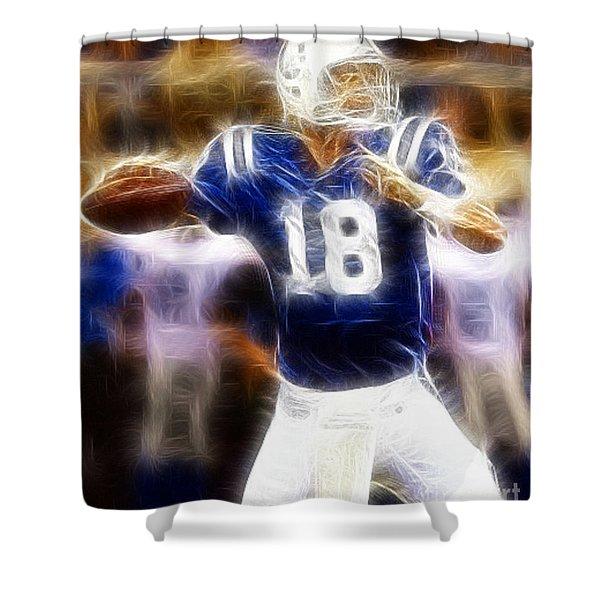 Peyton Manning Shower Curtain by Paul Ward