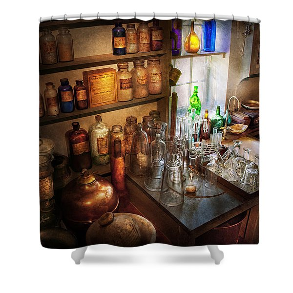 Pharmacist - A Little Bit Of Witch Craft Shower Curtain by Mike Savad