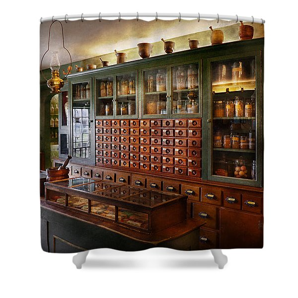 Pharmacy - I'll be out in a minute  Shower Curtain by Mike Savad