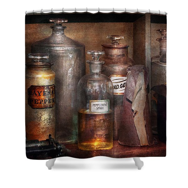Pharmacy - That's The Spirit Shower Curtain by Mike Savad