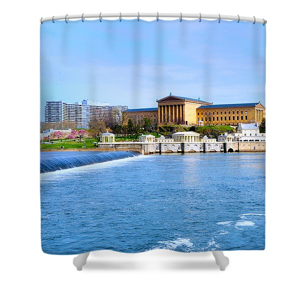 Philadelphia Museum Of Art And The Philadelphia Waterworks Shower Curtain by Bill Cannon