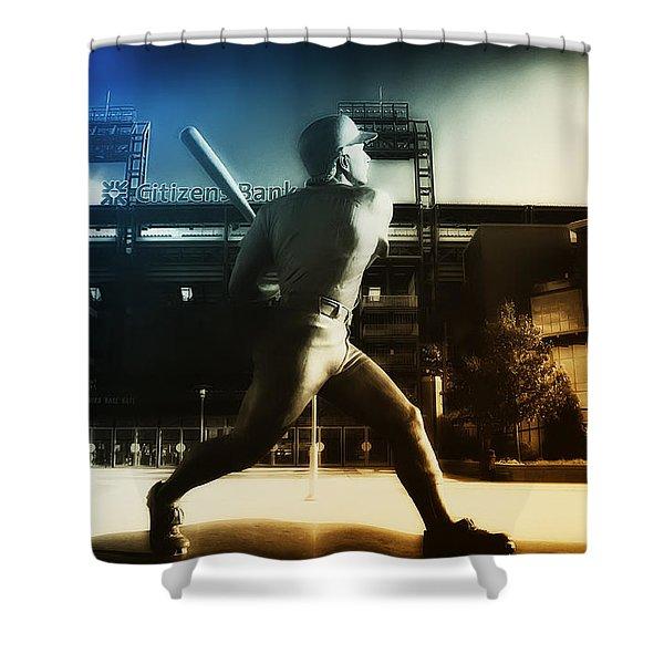 Philadelphia Phillie Mike Schmidt Shower Curtain by Bill Cannon