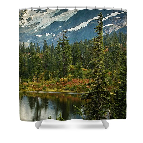 Picture Lake Vista Shower Curtain by Mike Reid