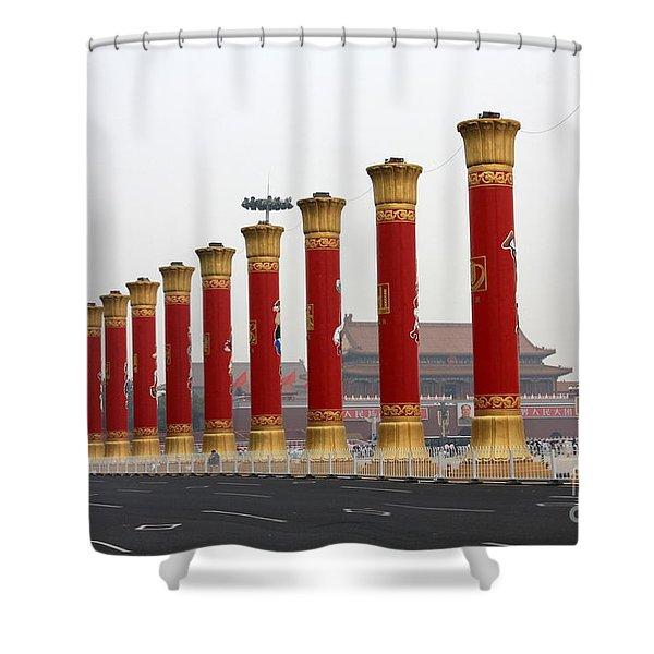 Pillars at Tiananmen Square Shower Curtain by Carol Groenen