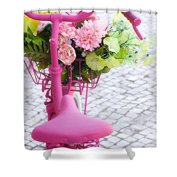 Pink Bike Shower Curtain by Carlos Caetano