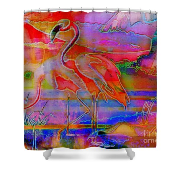 Pink Flamingos Shower Curtain by WBK