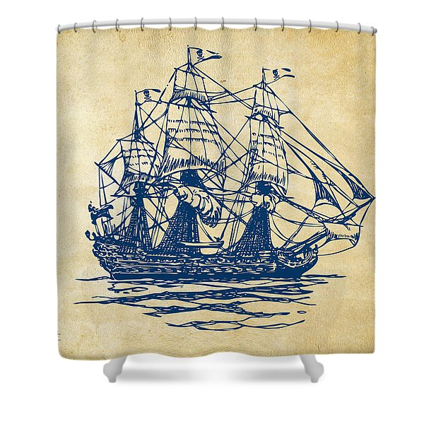 Pirate Ship Artwork - Vintage Shower Curtain by Nikki Marie Smith