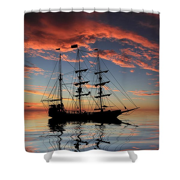 Pirate Ship At Sunset Shower Curtain by Shane Bechler