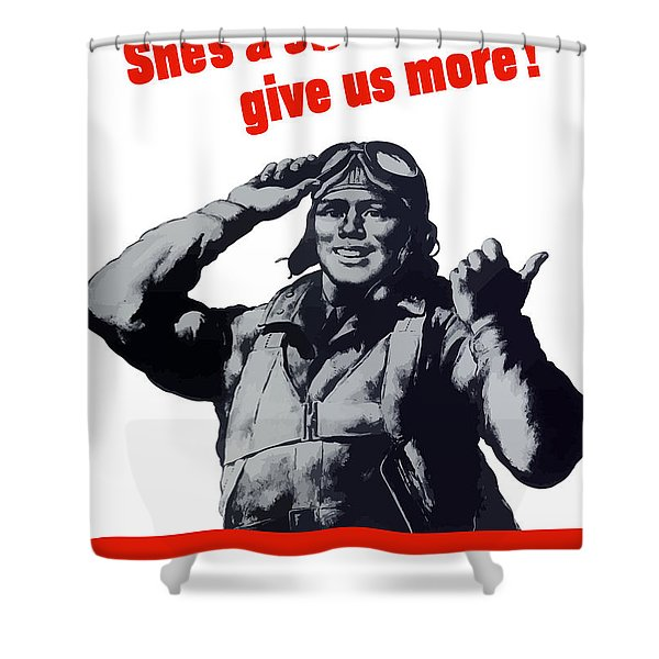 Plane Production Give Us More Shower Curtain by War Is Hell Store