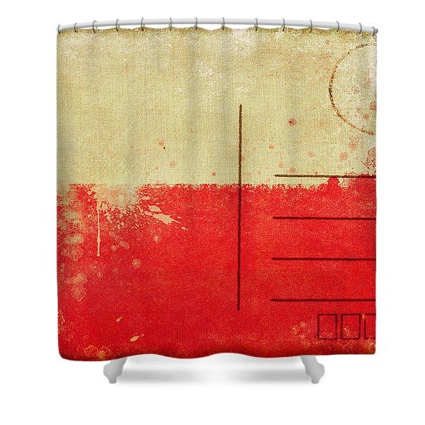 Poland flag postcard Shower Curtain by Setsiri Silapasuwanchai