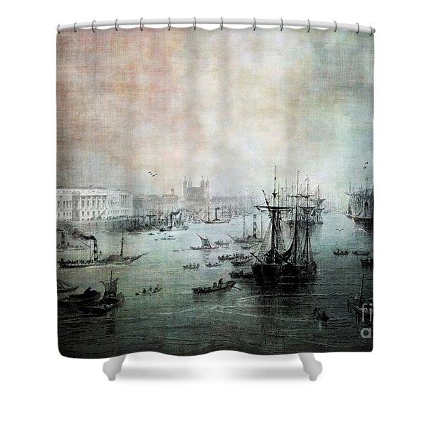 Port Of London - Circa 1840 Shower Curtain by Lianne Schneider