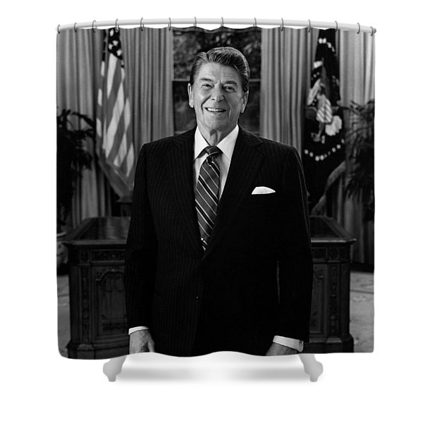 President Ronald Reagan In The Oval Office Shower Curtain by War Is Hell Store