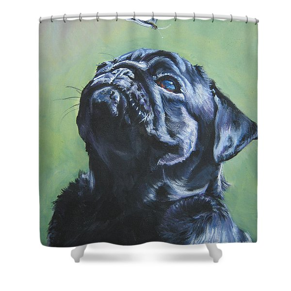 Pug Black Shower Curtain by L A Shepard