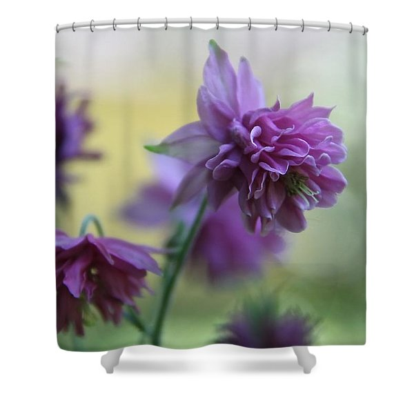 Purple Columbine Shower Curtain by Andrea Lazar