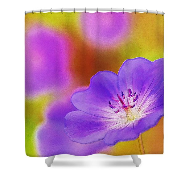 Purple Geranium Shower Curtain by Lanjee Chee