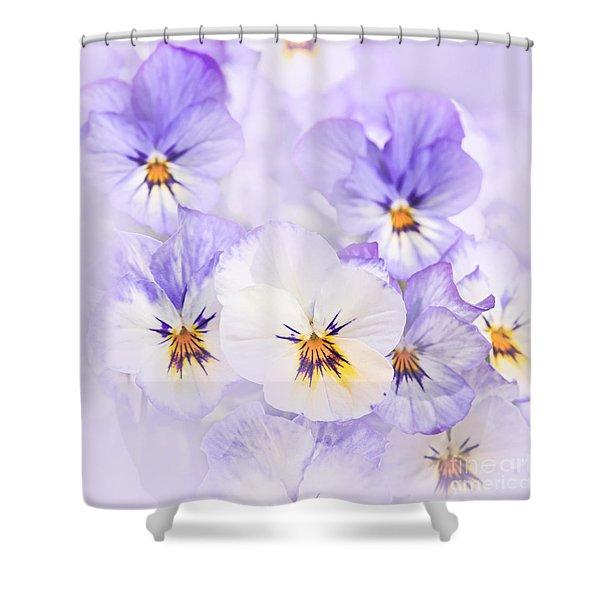 Purple Pansies Shower Curtain by Elena Elisseeva