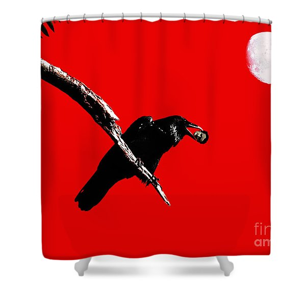Quoth The Raven Nevermore . Red Shower Curtain by Wingsdomain Art and Photography