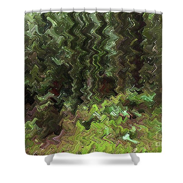 Rain Forest Abstract Shower Curtain by Sharon  Talson