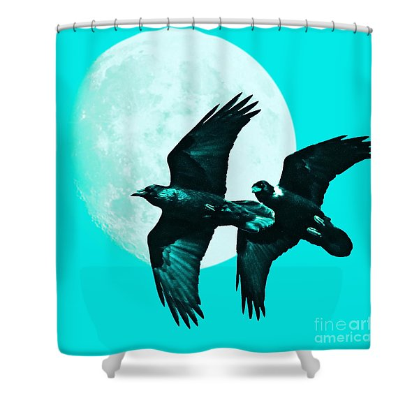 Ravens of the Moon . Cyan Square Shower Curtain by Wingsdomain Art and Photography