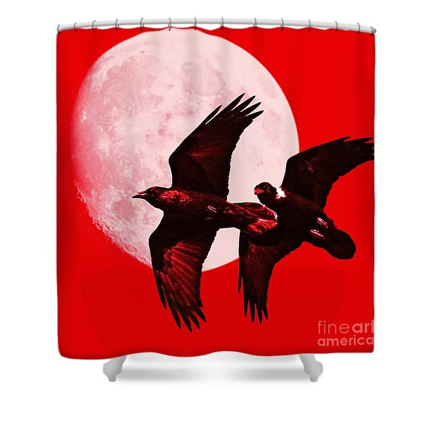 Ravens Of The Moon . Red Square Shower Curtain by Wingsdomain Art and Photography