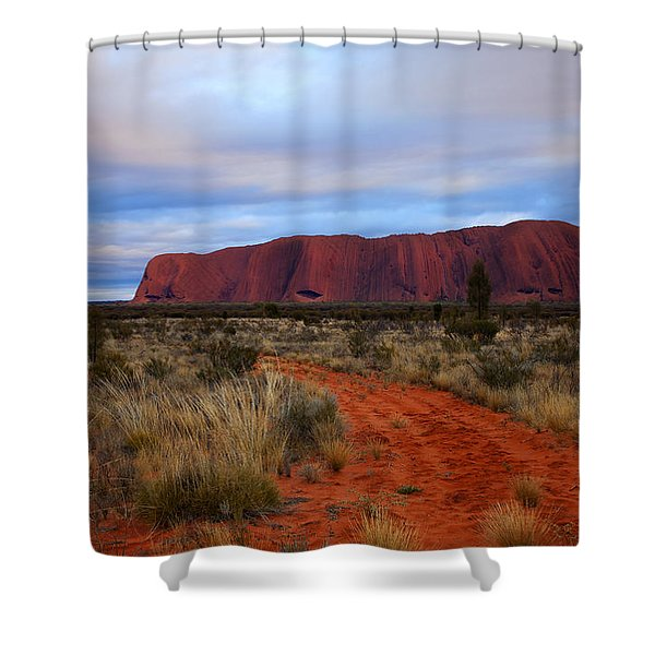 Red Center Dawn Shower Curtain by Mike  Dawson