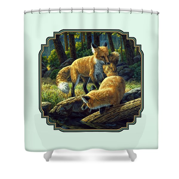 Red Foxes - Sibling Rivalry Shower Curtain by Crista Forest