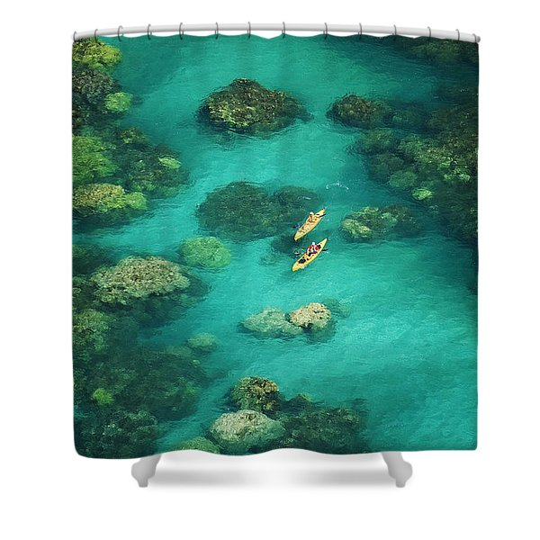 Red Outrigger Canoe Shower Curtain by Ron Dahlquist - Printscapes