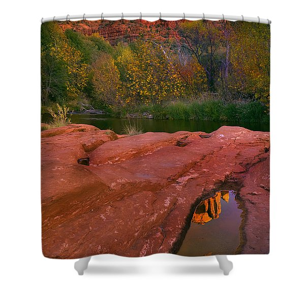 Red Rock Reflection Shower Curtain by Mike  Dawson
