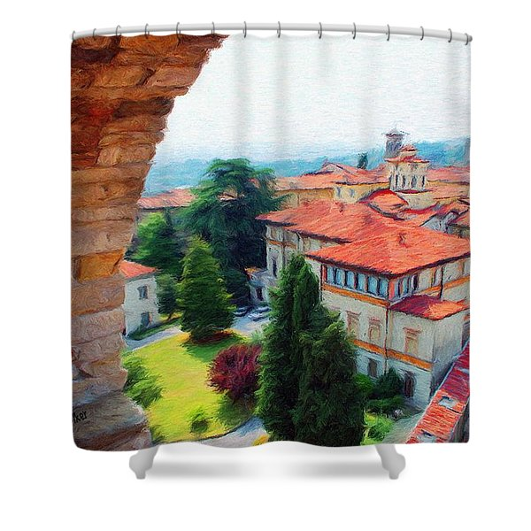 Red Roofs Shower Curtain by Jeff Kolker