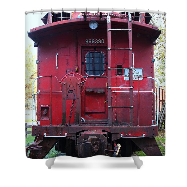 Red Sante Fe Caboose Train . 7D10476 Shower Curtain by Wingsdomain Art and Photography