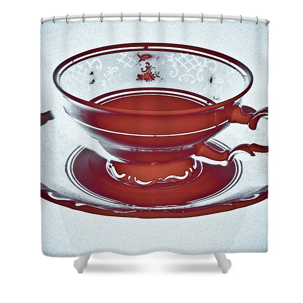- Red Tea Cup Shower Curtain by Frank Tschakert