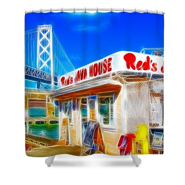 Red's Java House Electrified Shower Curtain by Wingsdomain Art and Photography