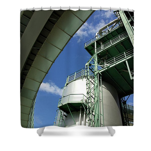 Refinery Detail Shower Curtain by Carlos Caetano