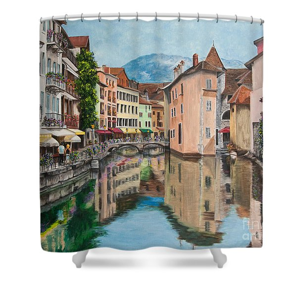 Reflections Of Annecy Shower Curtain by Charlotte Blanchard