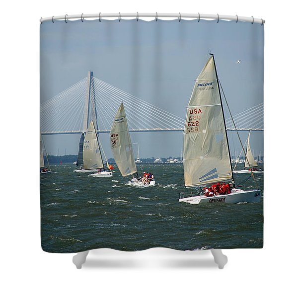 Regatta In Charleston Harbor Shower Curtain by Susanne Van Hulst