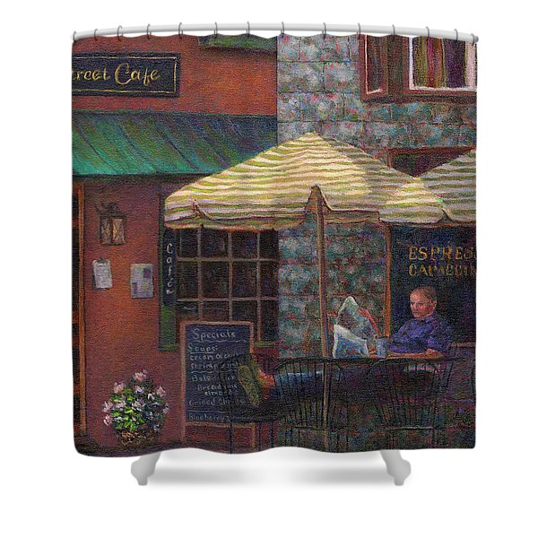 Relaxing At The Cafe Shower Curtain by Susan Savad