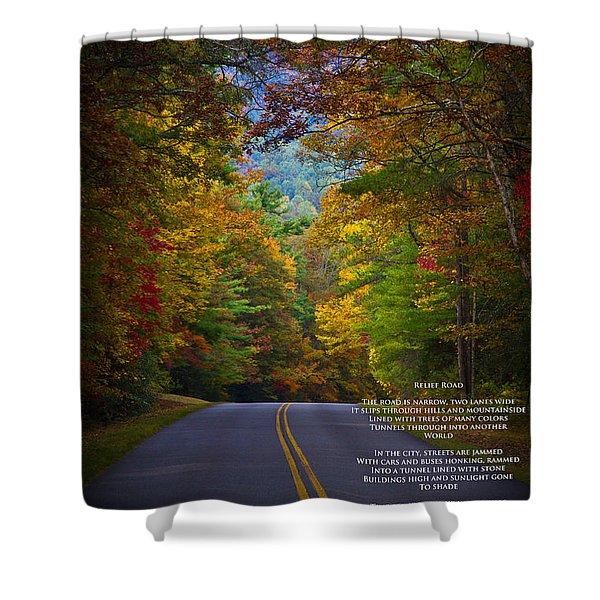 Relief Road  Blue Ridge Parkway Shower Curtain by John Haldane