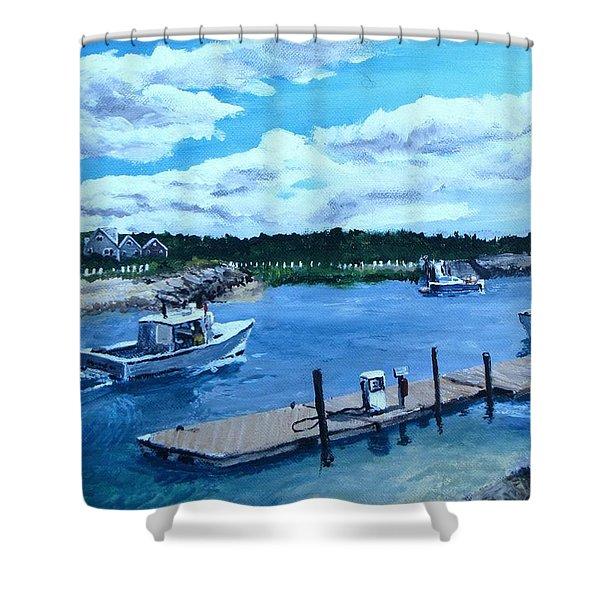 Returning To Sesuit Harbor Shower Curtain by Jack Skinner