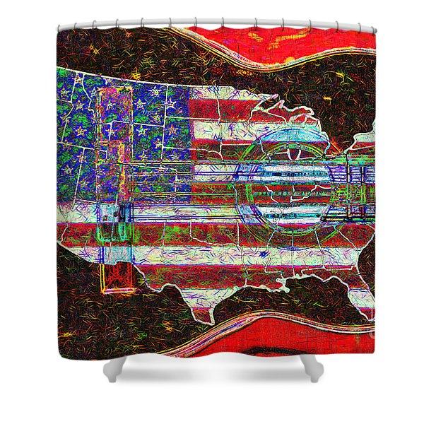 Rock and Roll America 20130123 Red Shower Curtain by Wingsdomain Art and Photography