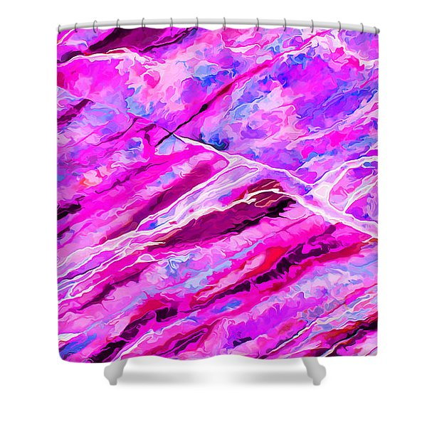 Rock Art 16 In Hot Pink Shower Curtain by Bill Caldwell -        ABeautifulSky Photography