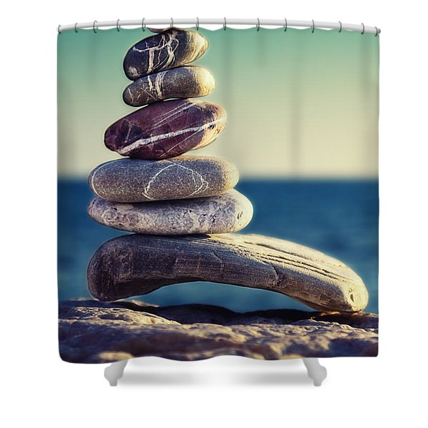 rock energy Shower Curtain by Stylianos Kleanthous
