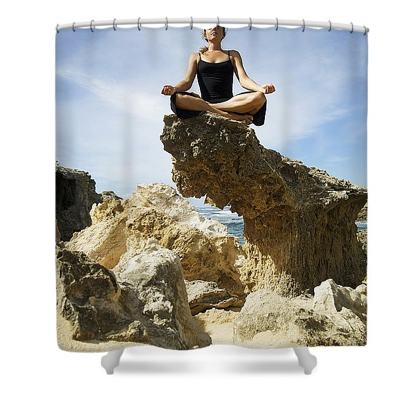 Rocky Yoga Shower Curtain by Kicka Witte - Printscapes