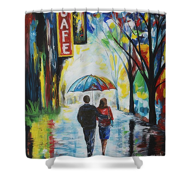 Romantic Night Out Shower Curtain by Leslie Allen